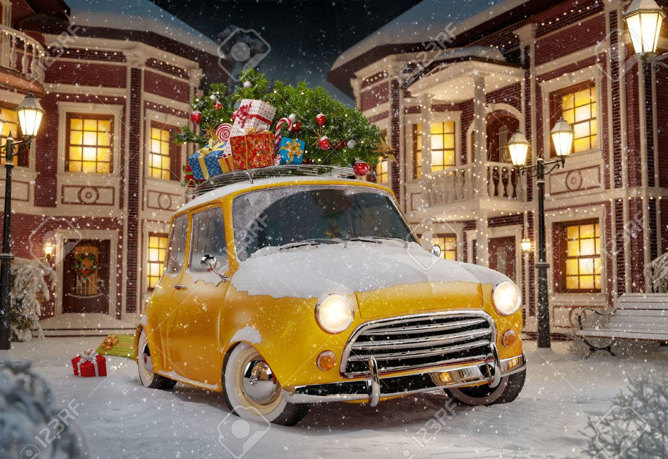 Amazing funny retro car with christmas tree and gift boxes on the roof in the cute city at night. Unusual christmas illustration Stock Illustration - 46807370