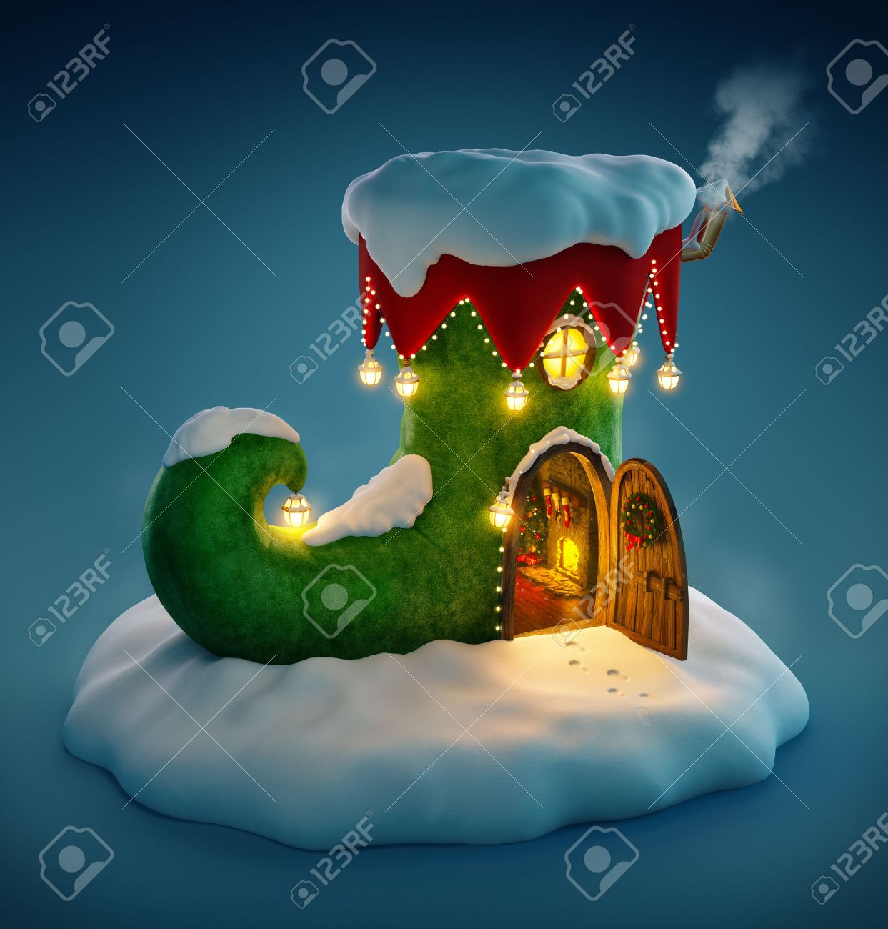 Amazing fairy house decorated at christmas in shape of elfs shoe with opened door and fireplace inside. Unusual christmas illustration. Stock Illustration - 46807381