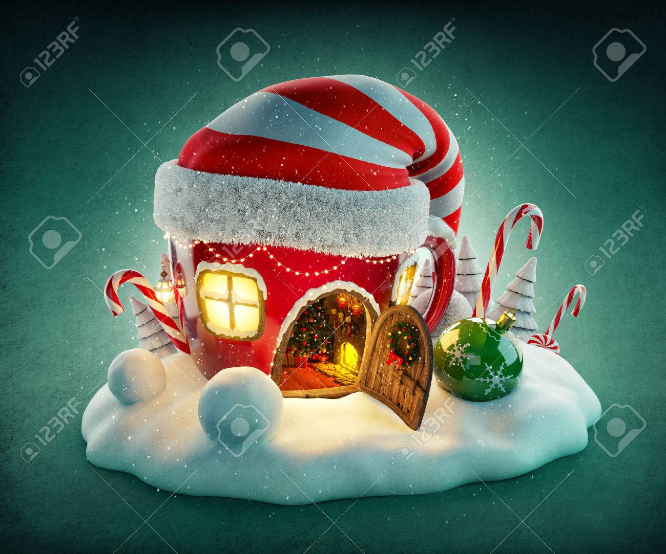 Amazing fairy house in elfs hat decorated at christmas in shape of tea cup with opened door and fireplace inside. Unusual christmas illustration. Stock Illustration - 46799225