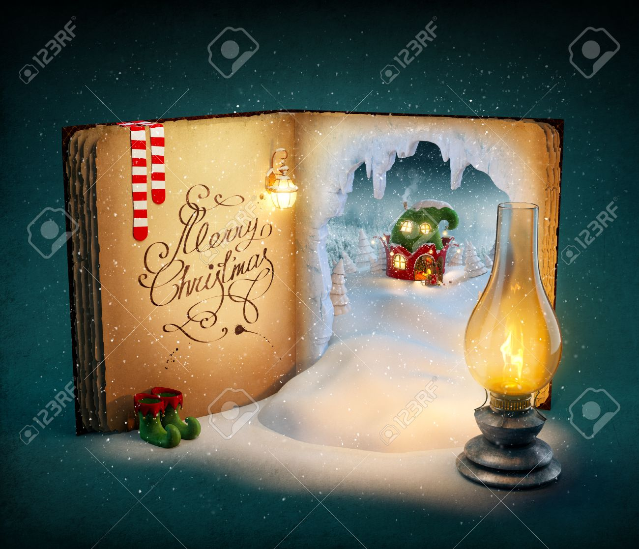 Magical opened book with fairy country and christmas stories. Unusual christmas illustration Stock Illustration - 46799231