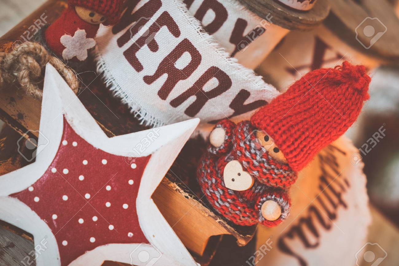 Little cute gnomes  on old books. christmas background Stock Photo - 46799137
