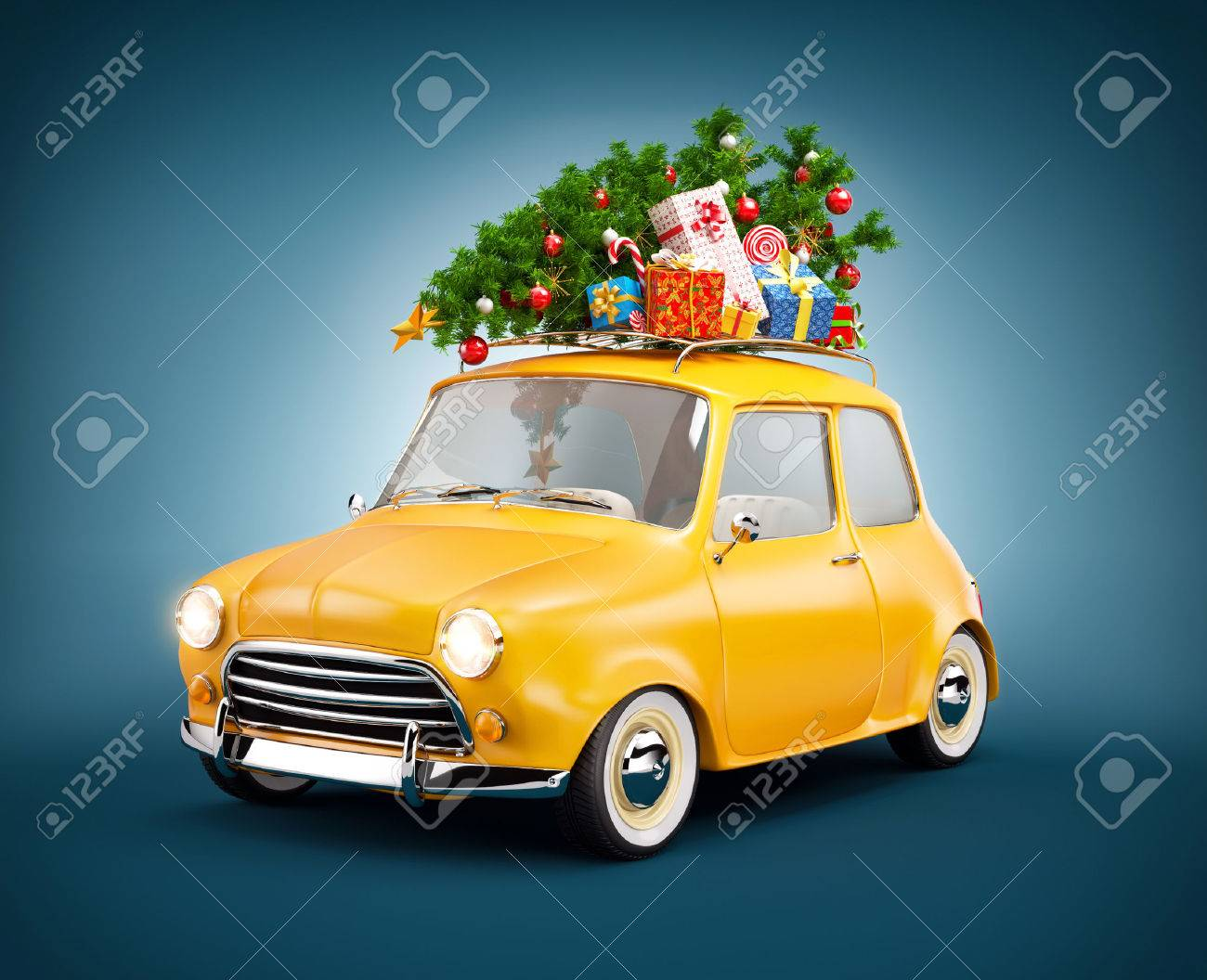 Retro car with gift boxes and christmas tree. Unusual christmas illustration Stock Illustration - 46799161