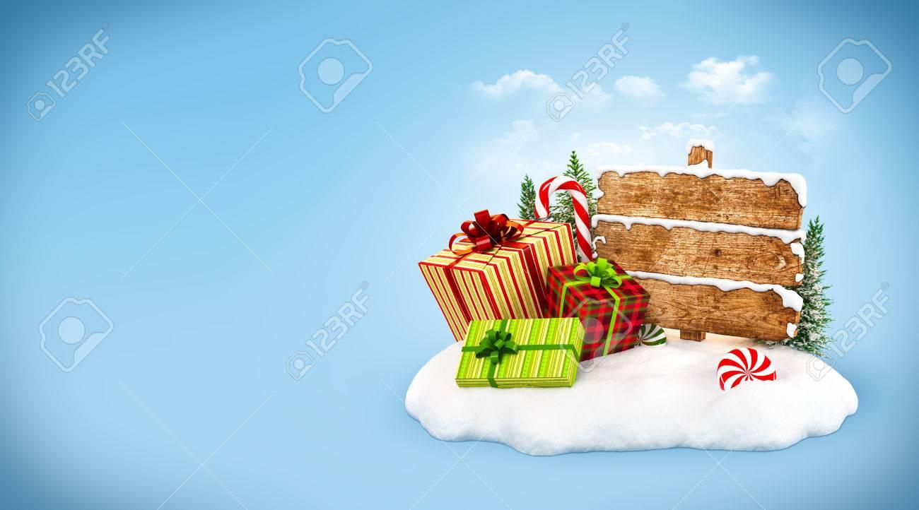 Weihnachtsgeschenk-Boxen, Süßigkeiten Und Leere Hölzerne Zeichen Auf ...