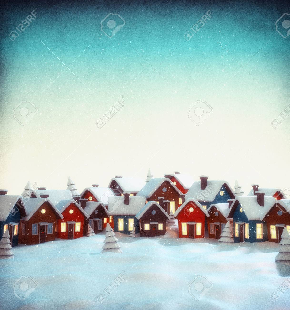 Cute little fairy town with cartoon houses in winter. Unusual christmas illustration Stock Illustration - 46799170