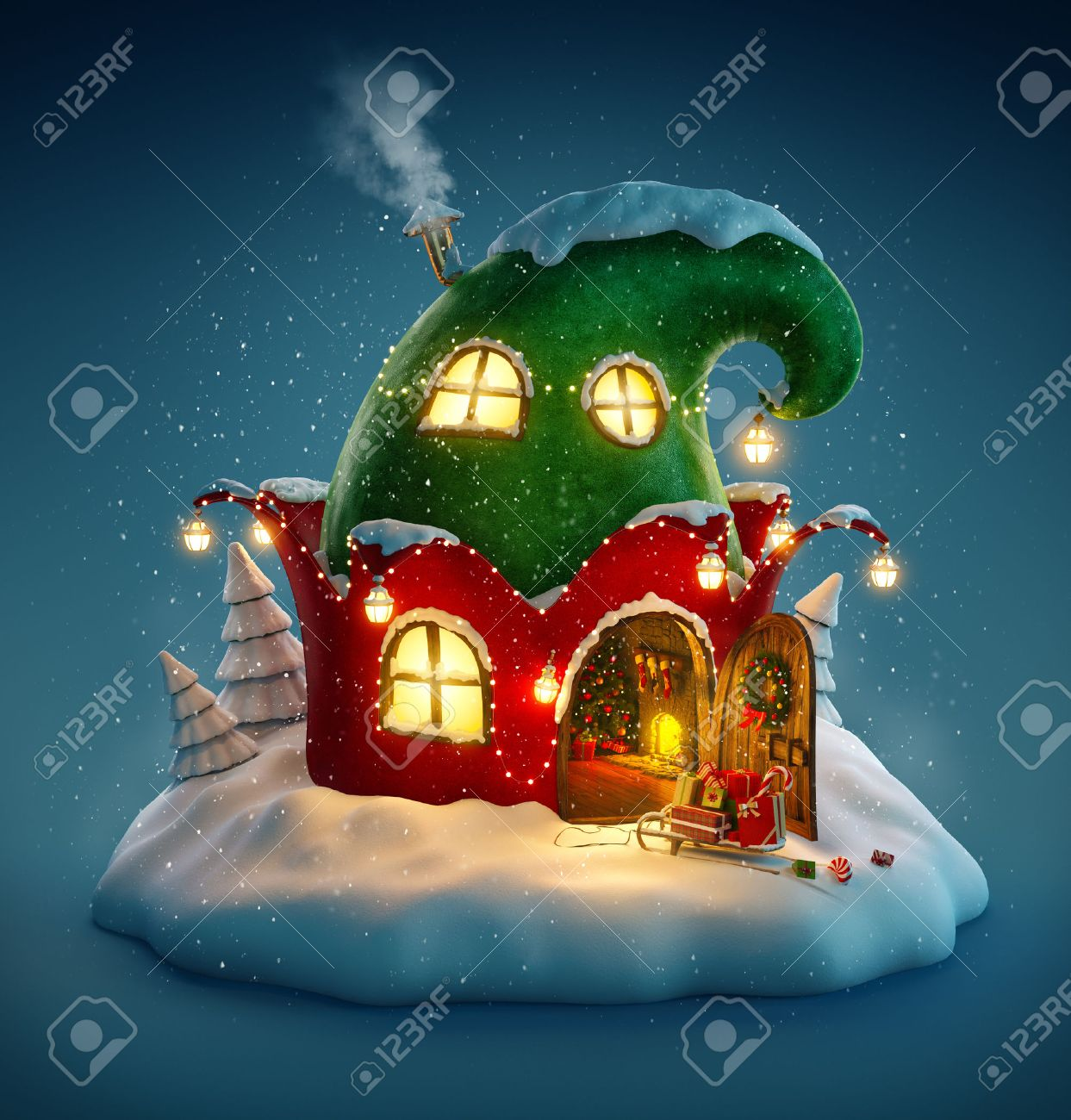 Amazing fairy house decorated at christmas in shape of elfs hat with opened door and fireplace inside. Unusual christmas illustration. Stock Illustration - 46798617