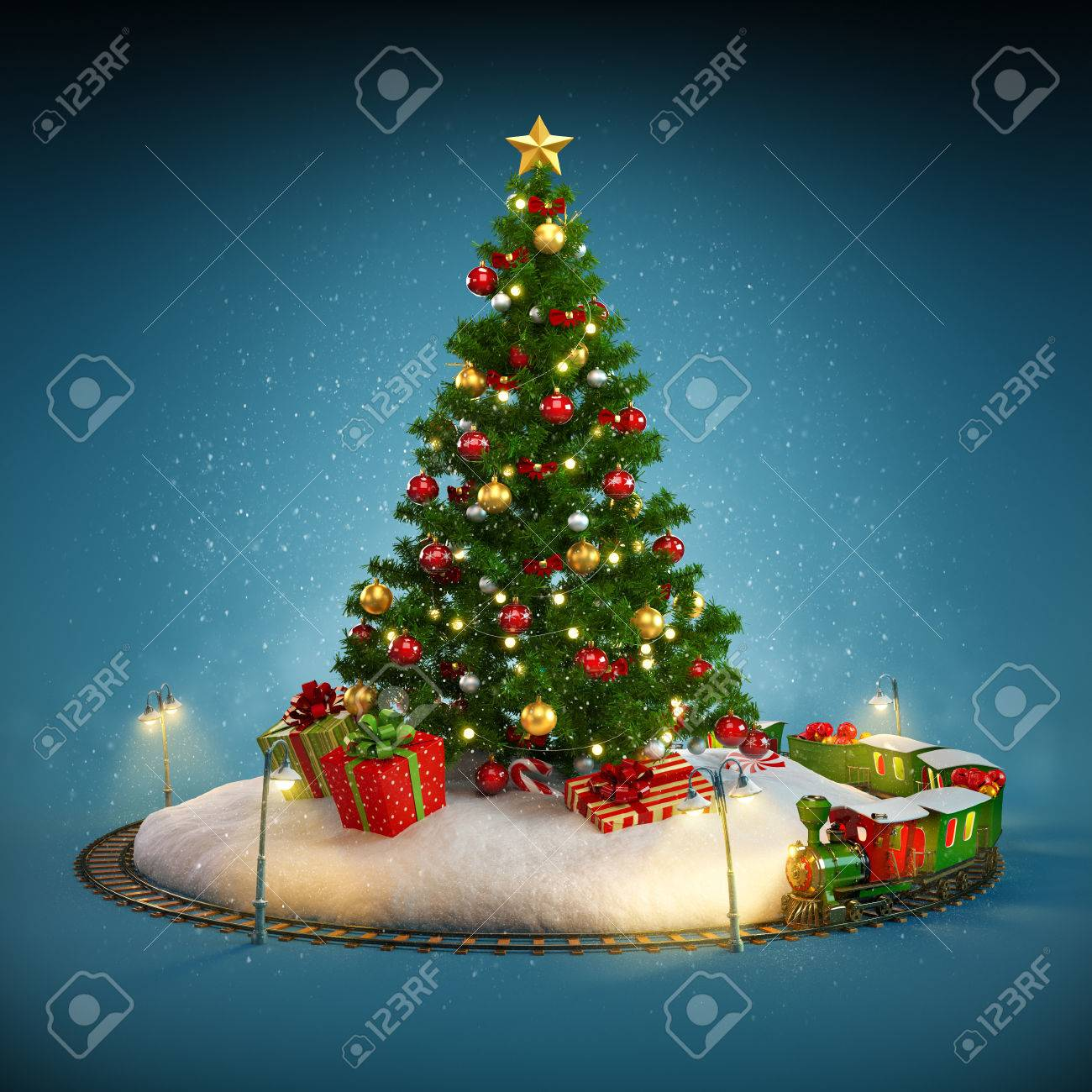 Weihnachtsbaum, Geschenke Und Eisenbahn Auf Blauem Hintergrund ...