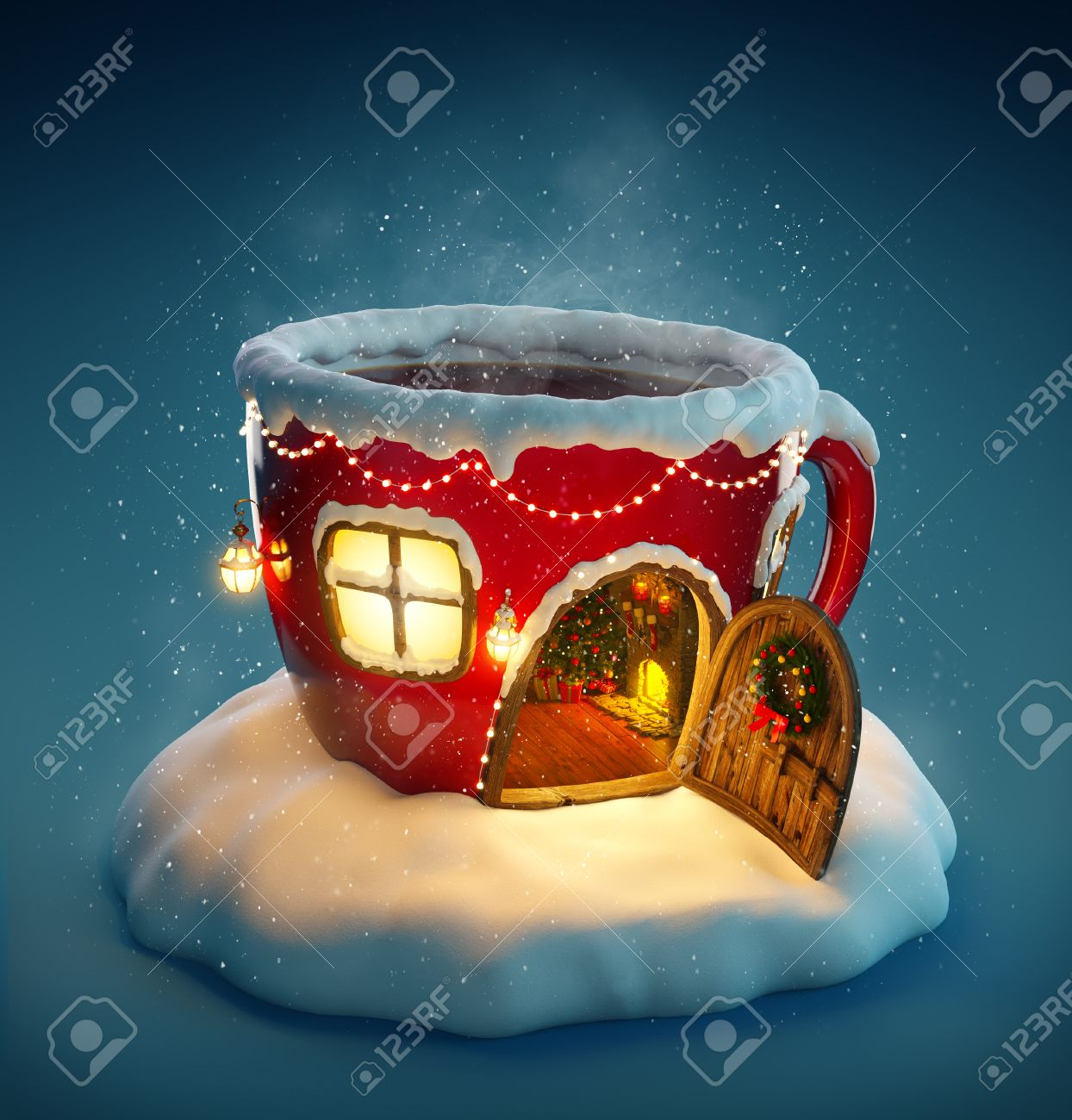 Amazing fairy house decorated at christmas in shape of tea cup with opened door and fireplace inside. Unusual christmas illustration. Stock Illustration - 46798619