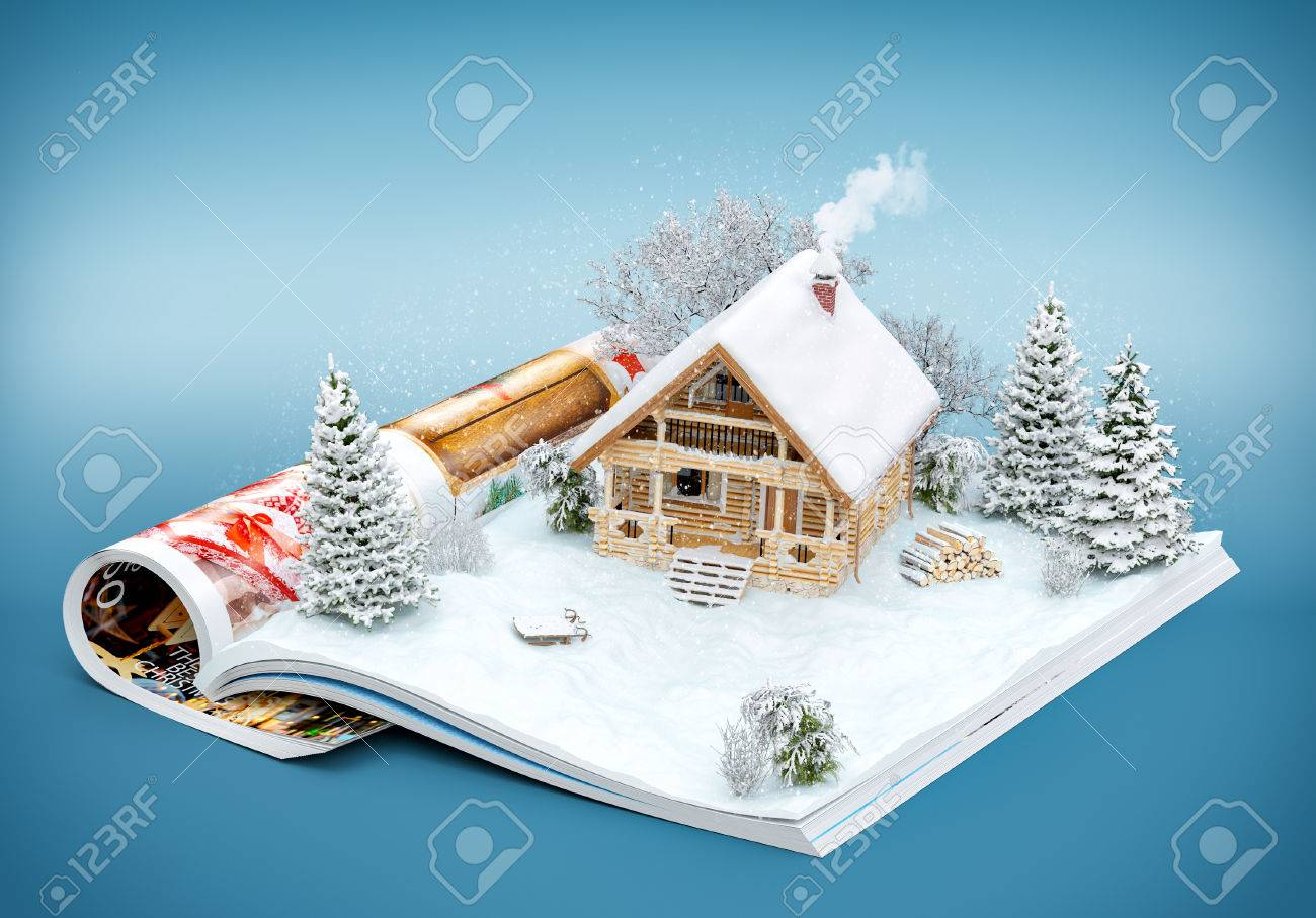 Cute log house on a page of opened magazine in winter. Unusual winter illustration Stock Illustration - 46798346