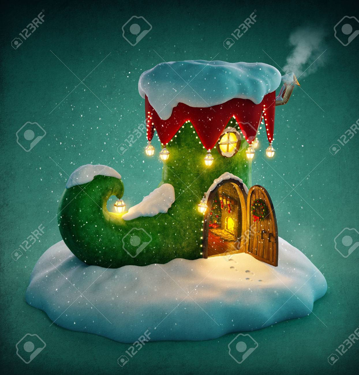 Amazing fairy house decorated at christmas in shape of elfs shoe with opened door and fireplace inside. Unusual christmas illustration. Stock Illustration - 48819018
