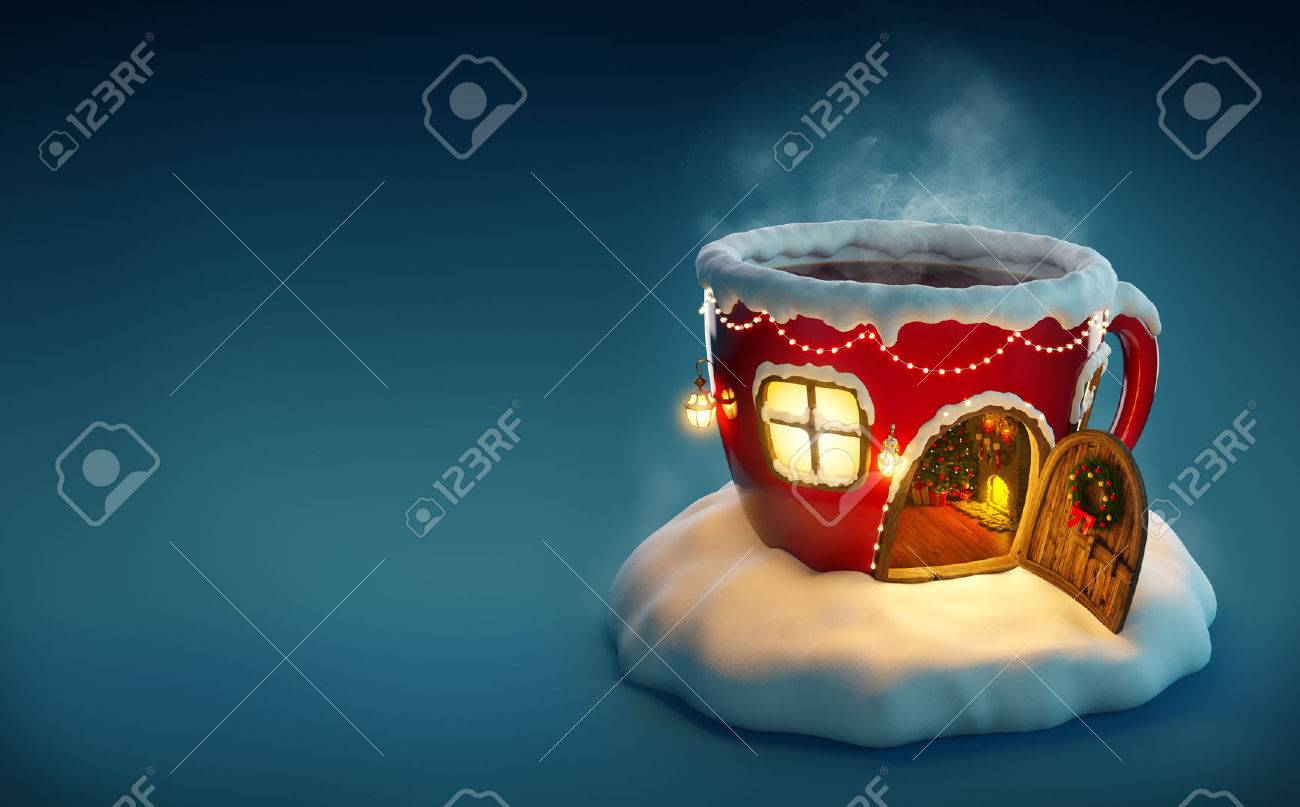 Amazing fairy house decorated at christmas in shape of tea cup with opened door and fireplace inside. Unusual christmas illustration. Stock Illustration - 49156081