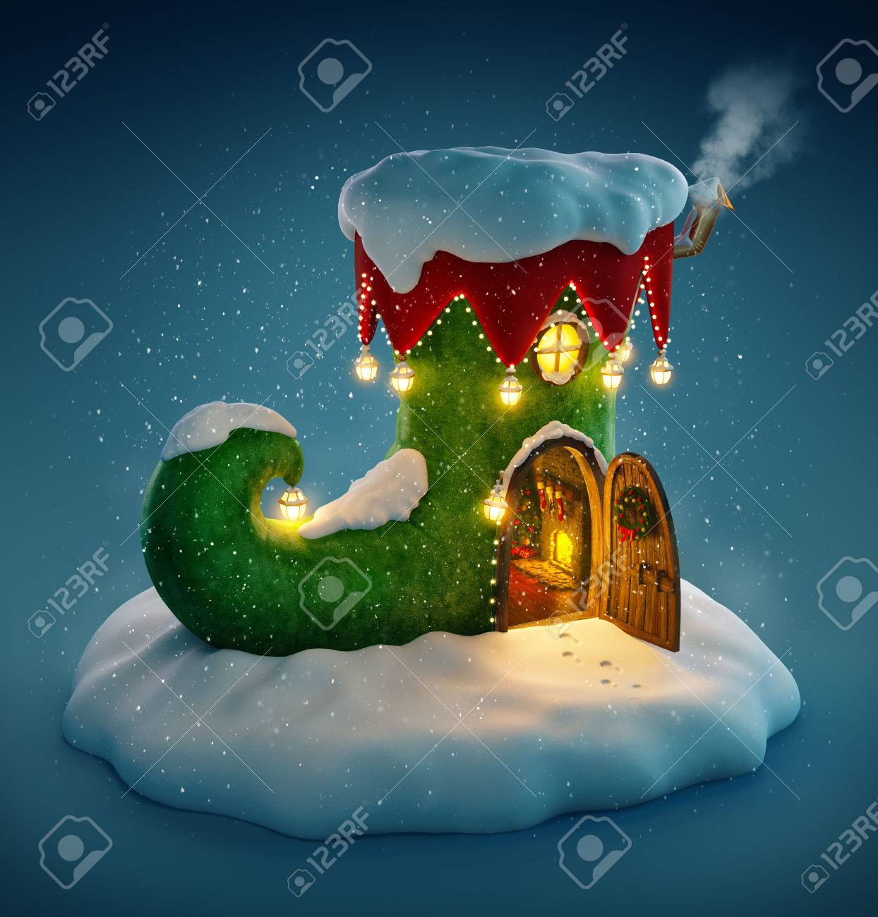 Amazing fairy house decorated at christmas in shape of elfs shoe with opened door and fireplace inside. Unusual christmas illustration. Stock Illustration - 49156231