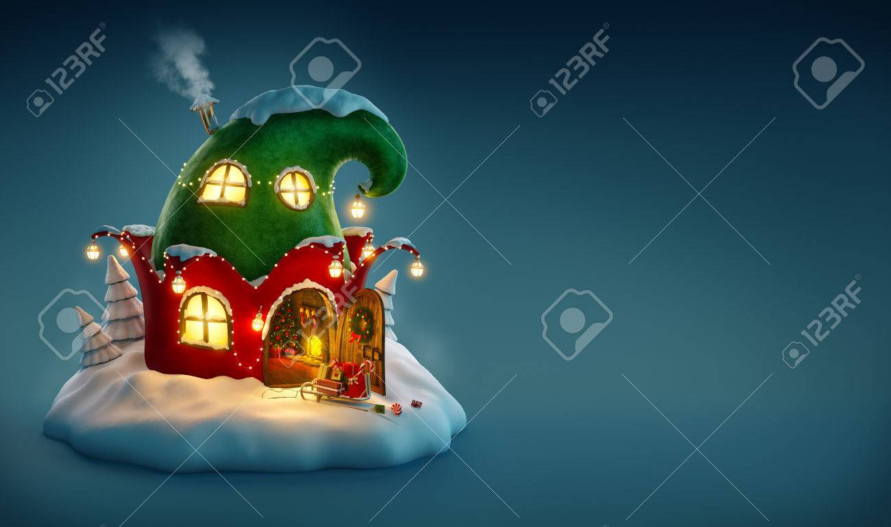 Amazing fairy house decorated at christmas in shape of elfs hat with opened door and fireplace inside. Unusual christmas illustration. Stock Illustration - 49156295