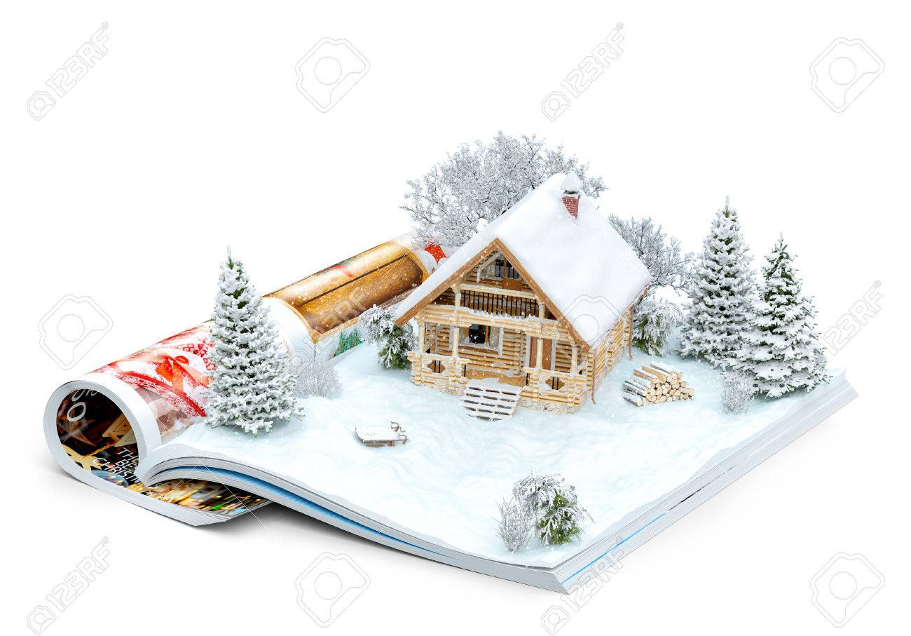 Cute log house on a page of opened magazine in winter. Unusual winter illustration. Isolated Stock Illustration - 49156296
