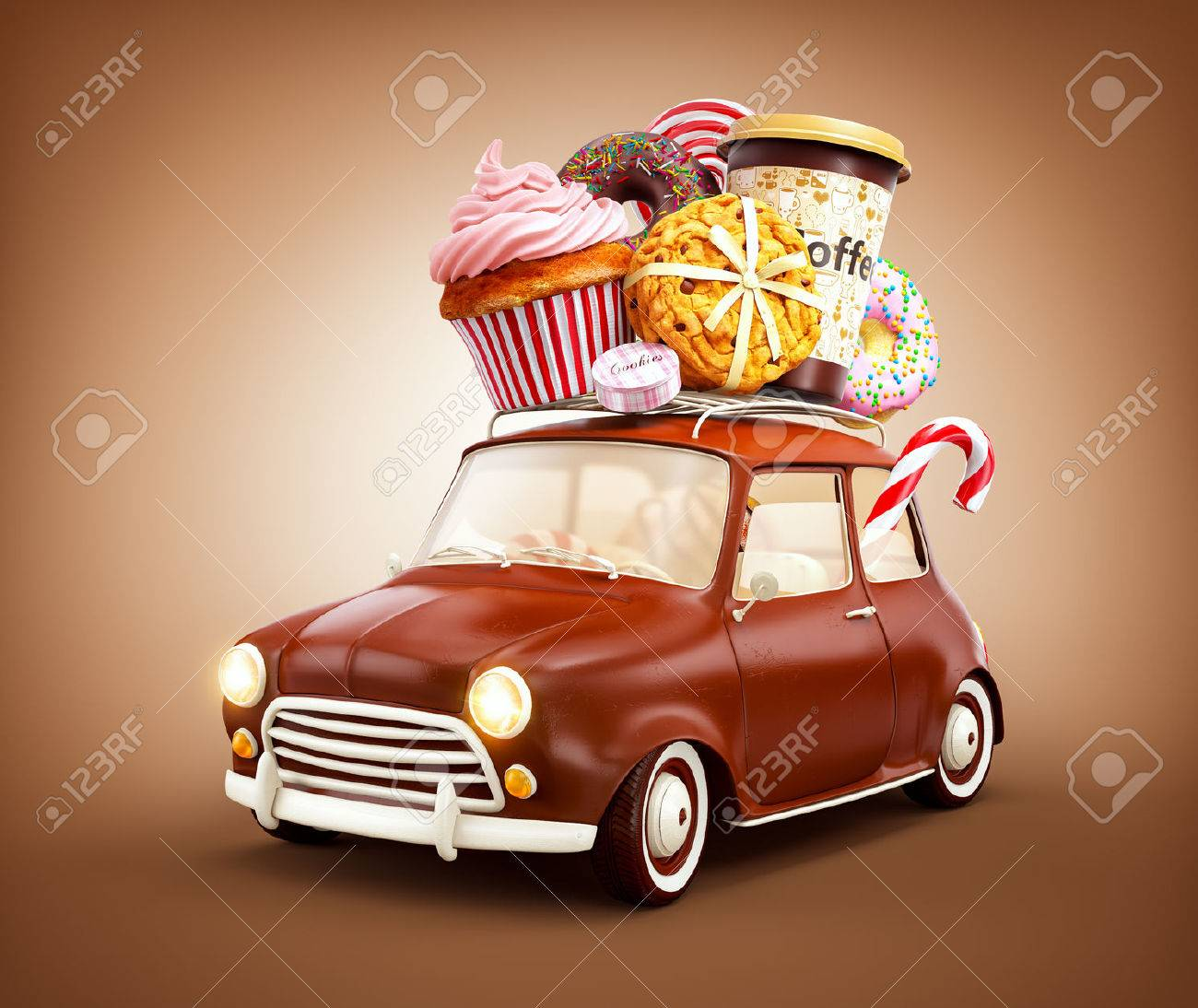 Cute fantastic chocolade car with sweets and coffee on top. Stock Photo - 58485387