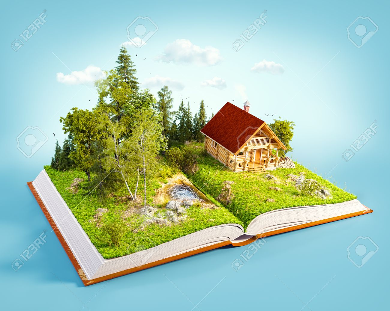 Cute countryside log house in a wonderful forest on pages of opened book. Unusual 3D illustration. Stock Illustration - 58550502