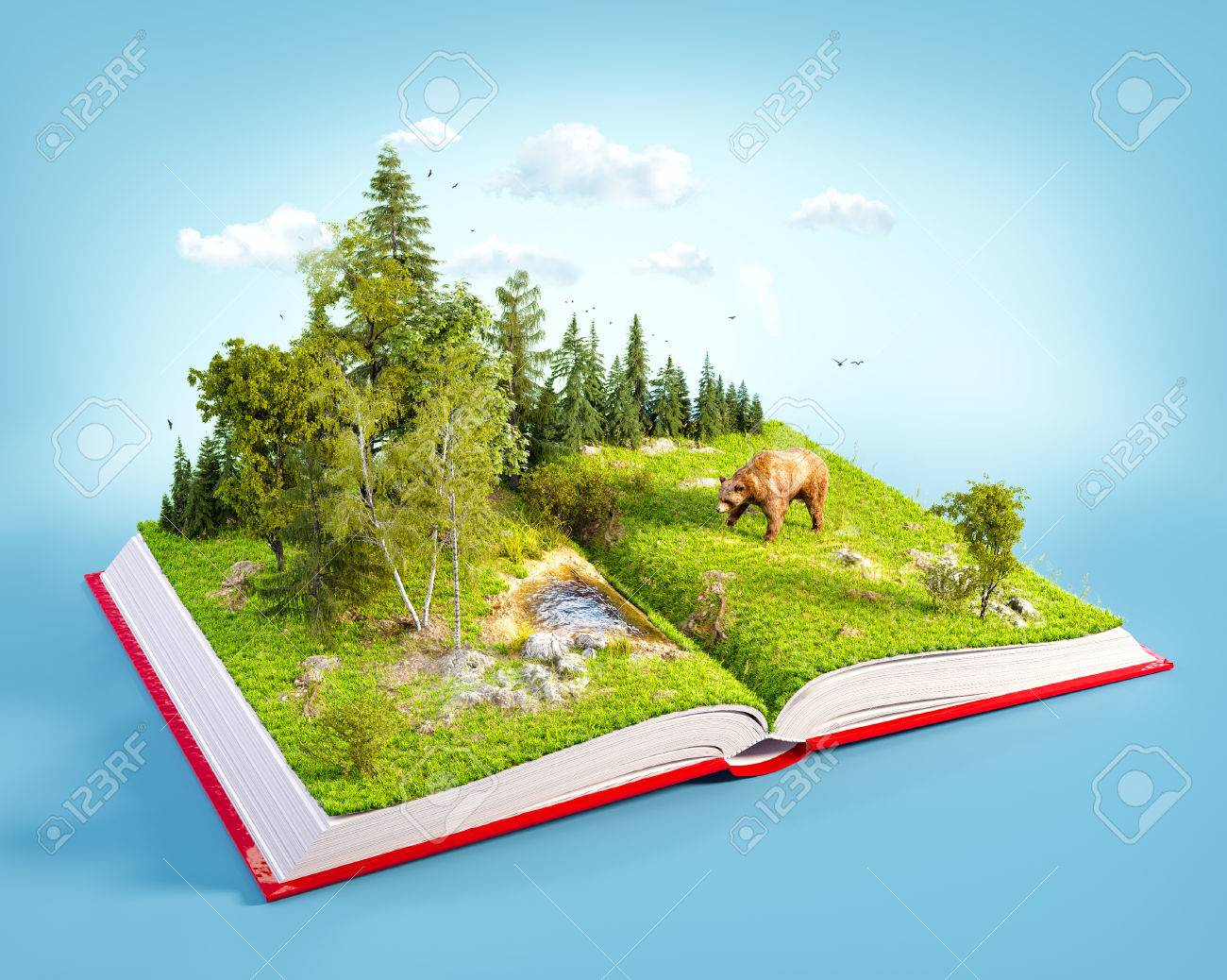 Opened red book with wild forest and bear on pages. Endangered-species list. Unusual 3D illustration - 58550506