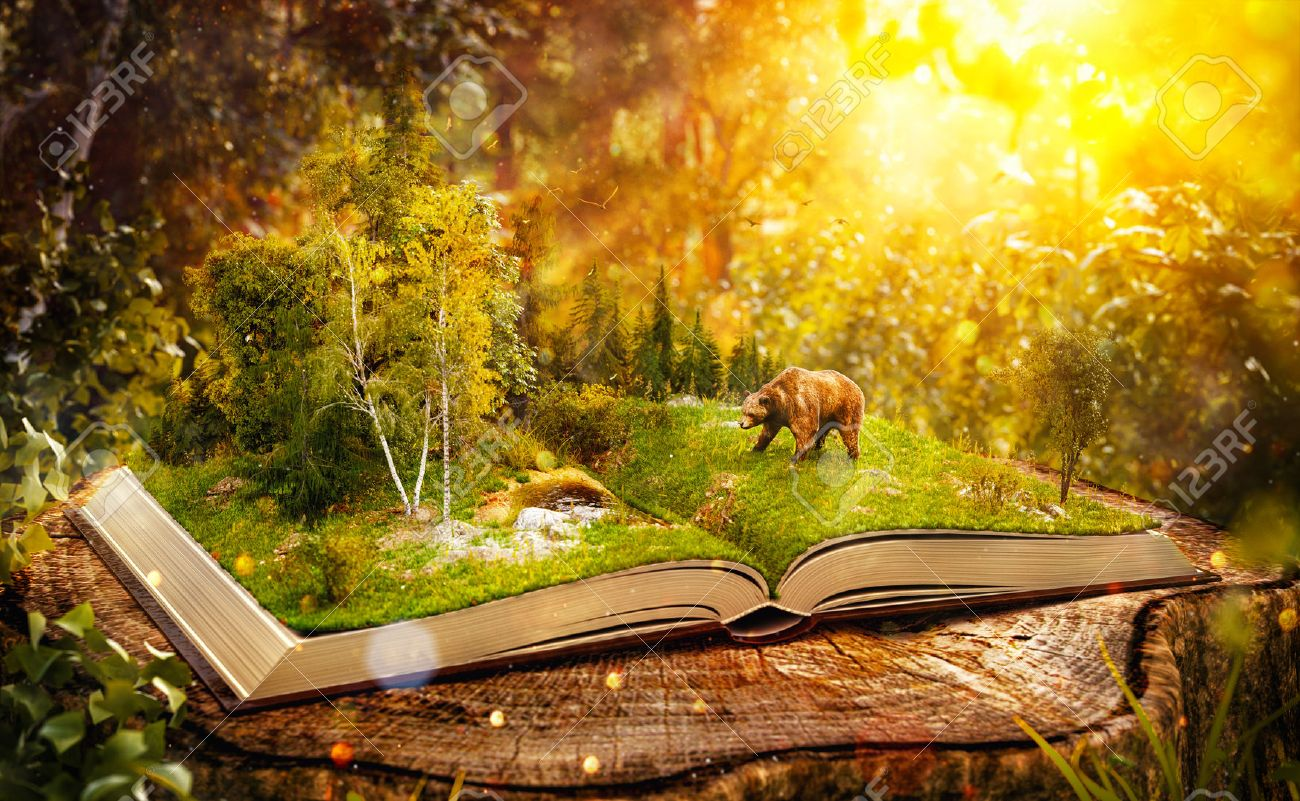 Opened book with wild forest and bear on pages. Endangered-species list. Unusual 3D illustration Stock Illustration - 61321439
