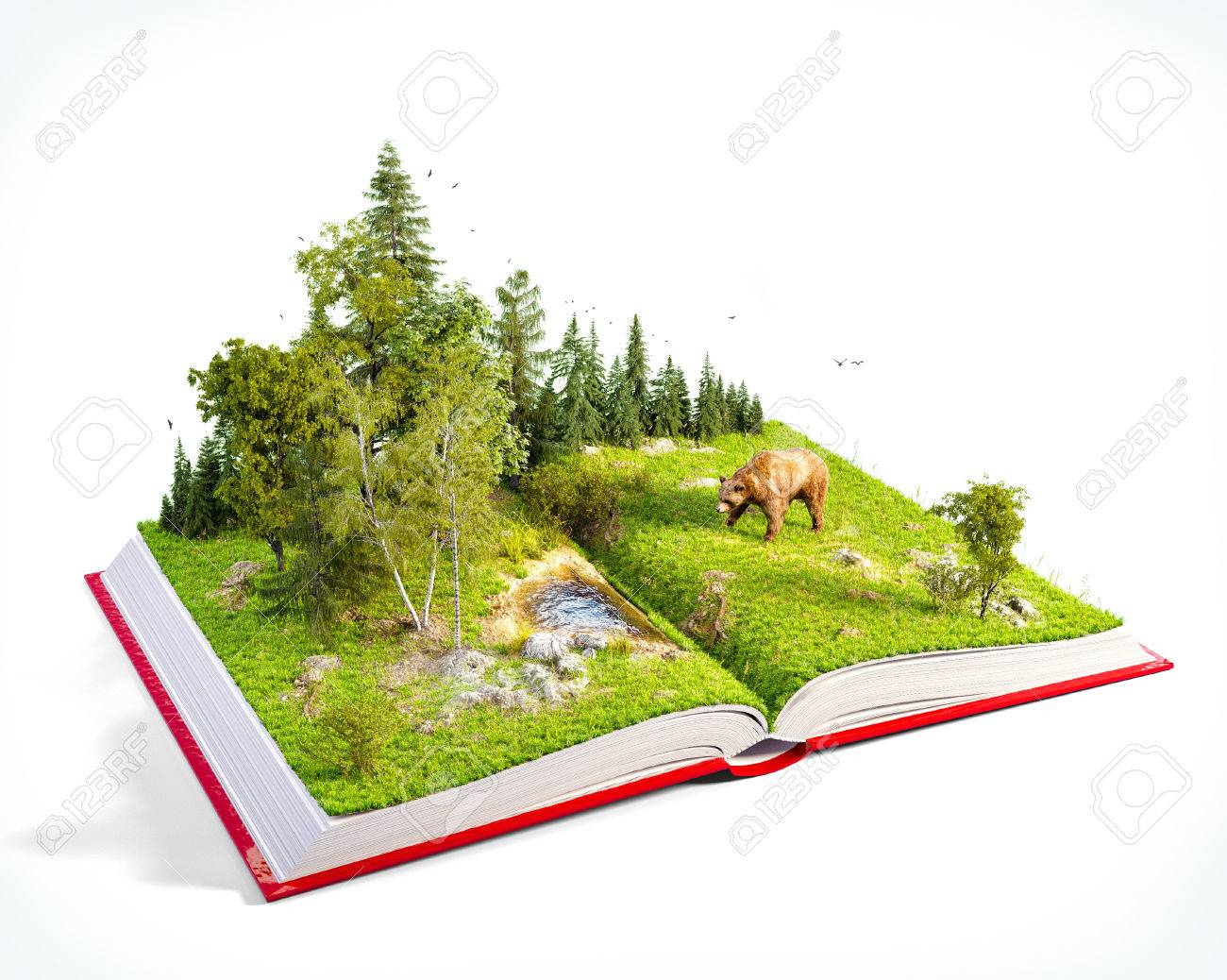 Opened red book with wild forest and bear on pages. Endangered-species list. Unusual 3D illustration. Isolated - 61322196