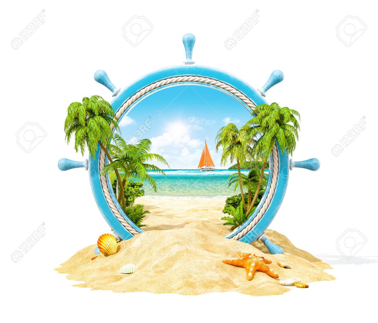 Wonderful tropical landscape with palms and beach in wooden helm. Unusual 3D illustration. Isolated Stock Illustration - 61322198