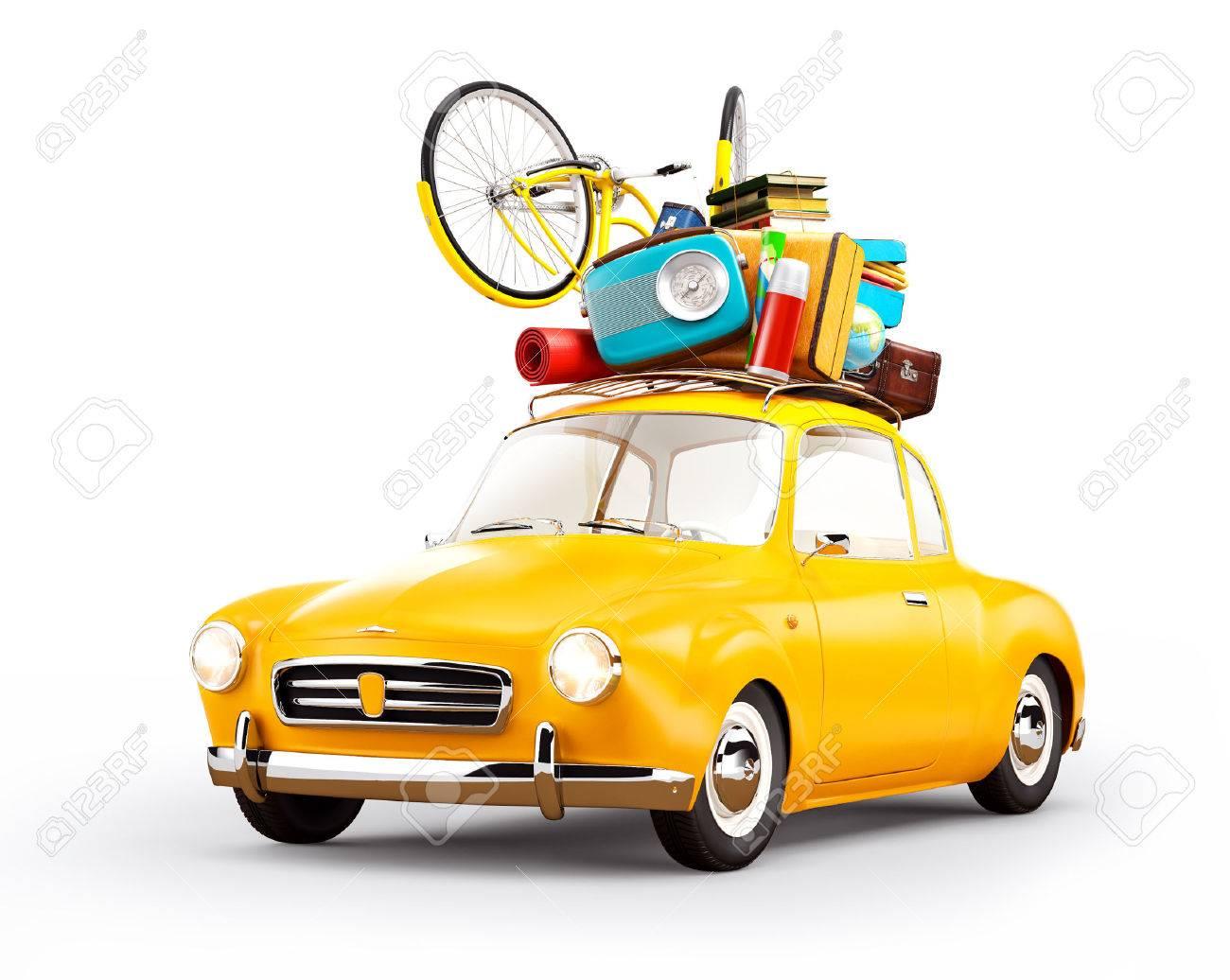 Retro car with luggage. Unusual travel illustration. Isolated - 61322204