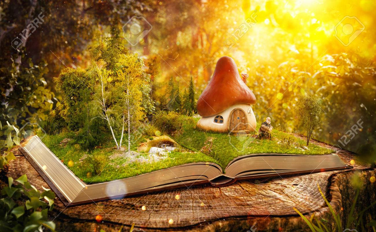 Magical mushroom house on pages of opened book in a fantastic forest. Stock Photo - 61322237