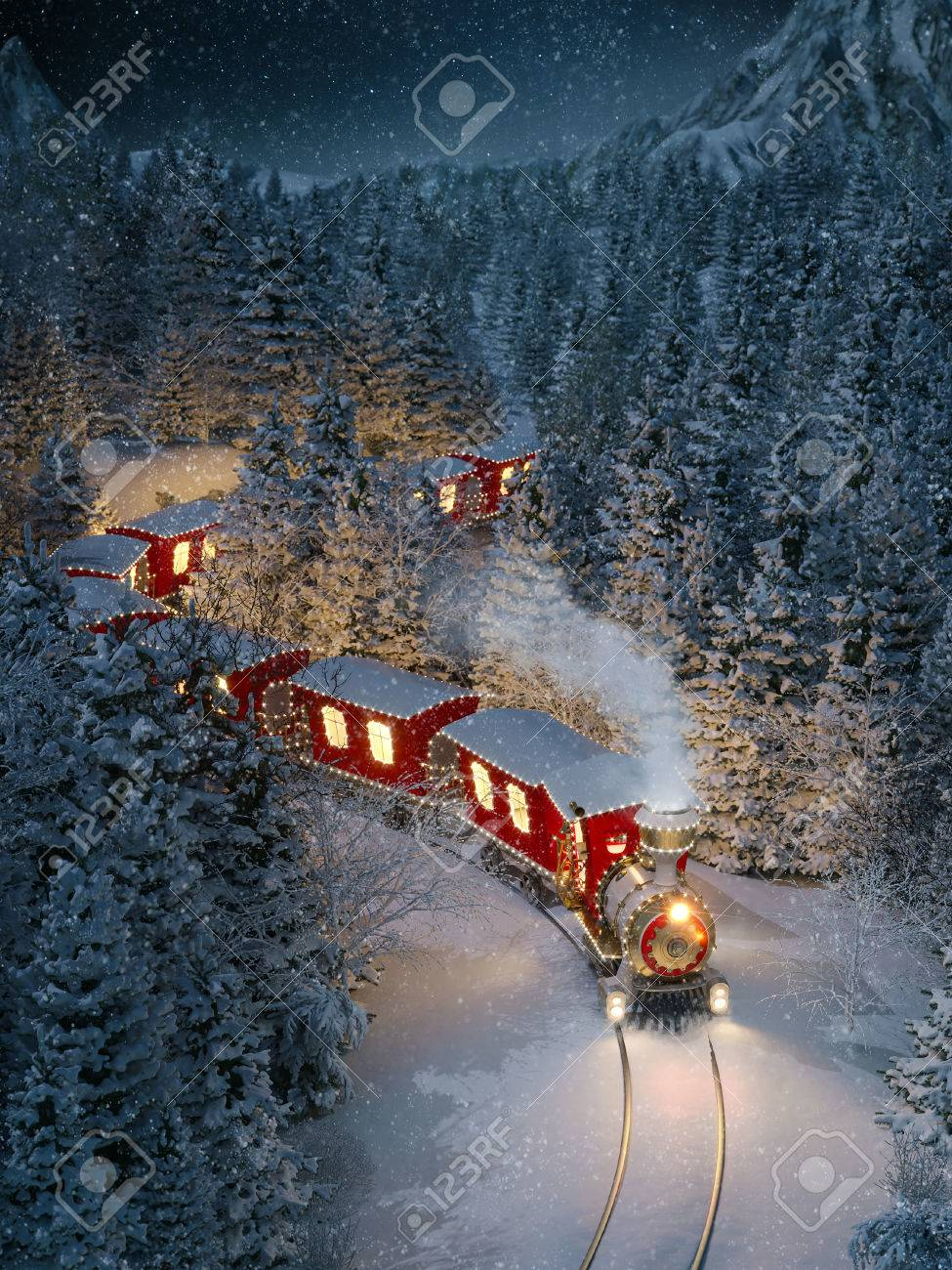 Amazing cute christmas train goes through fantastic winter forest in north pole. Unusual christmas 3d illustration Stock Illustration - 65785523