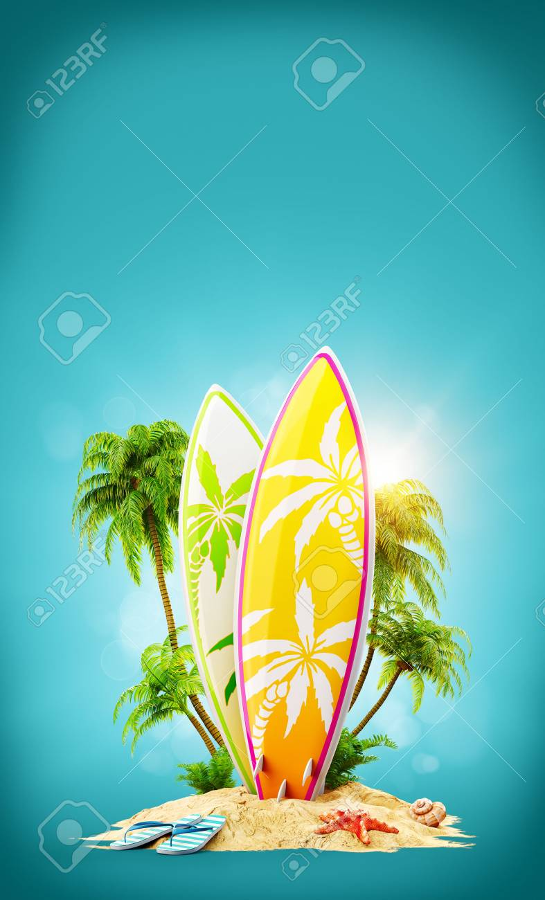 Surf boards on paradise island with palms. Unusual travel 3d illustration. Summer vacation concept - 75736557