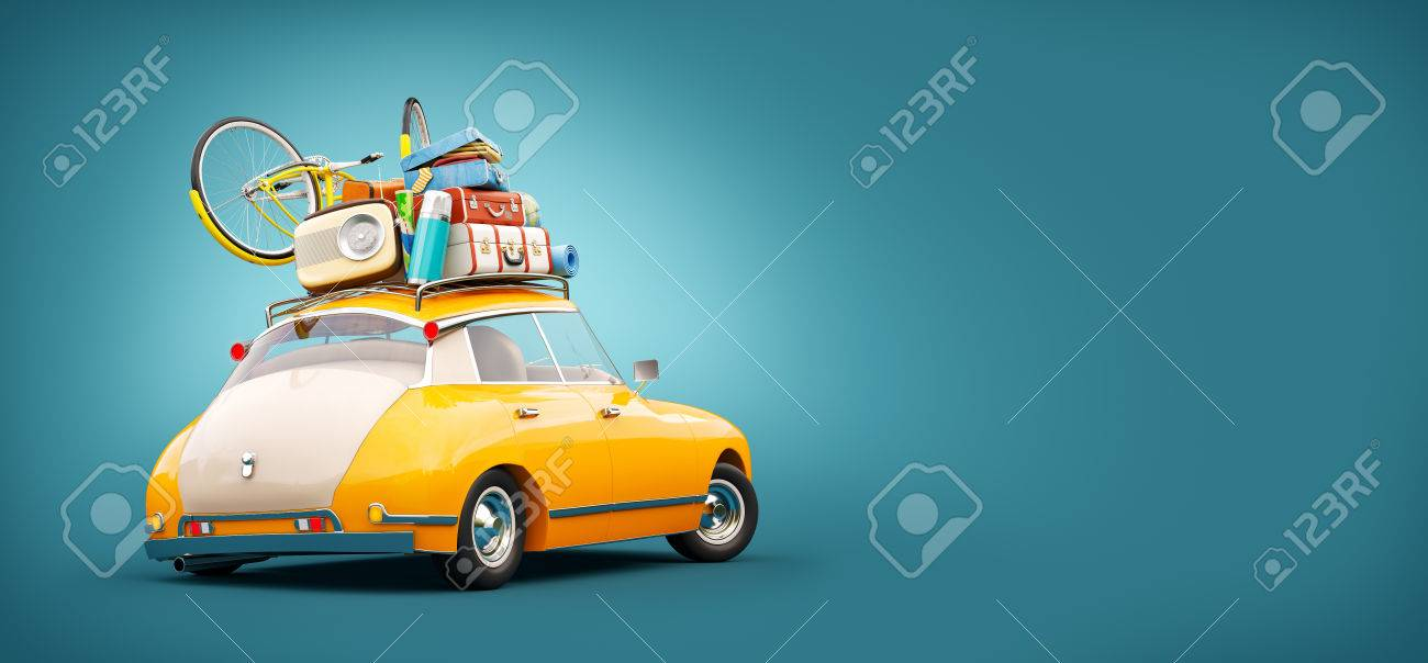 Funny retro car with laggage, suitcases and bicycle. Unusual summer travel 3d illustration. Summer vacation concept - 75732095