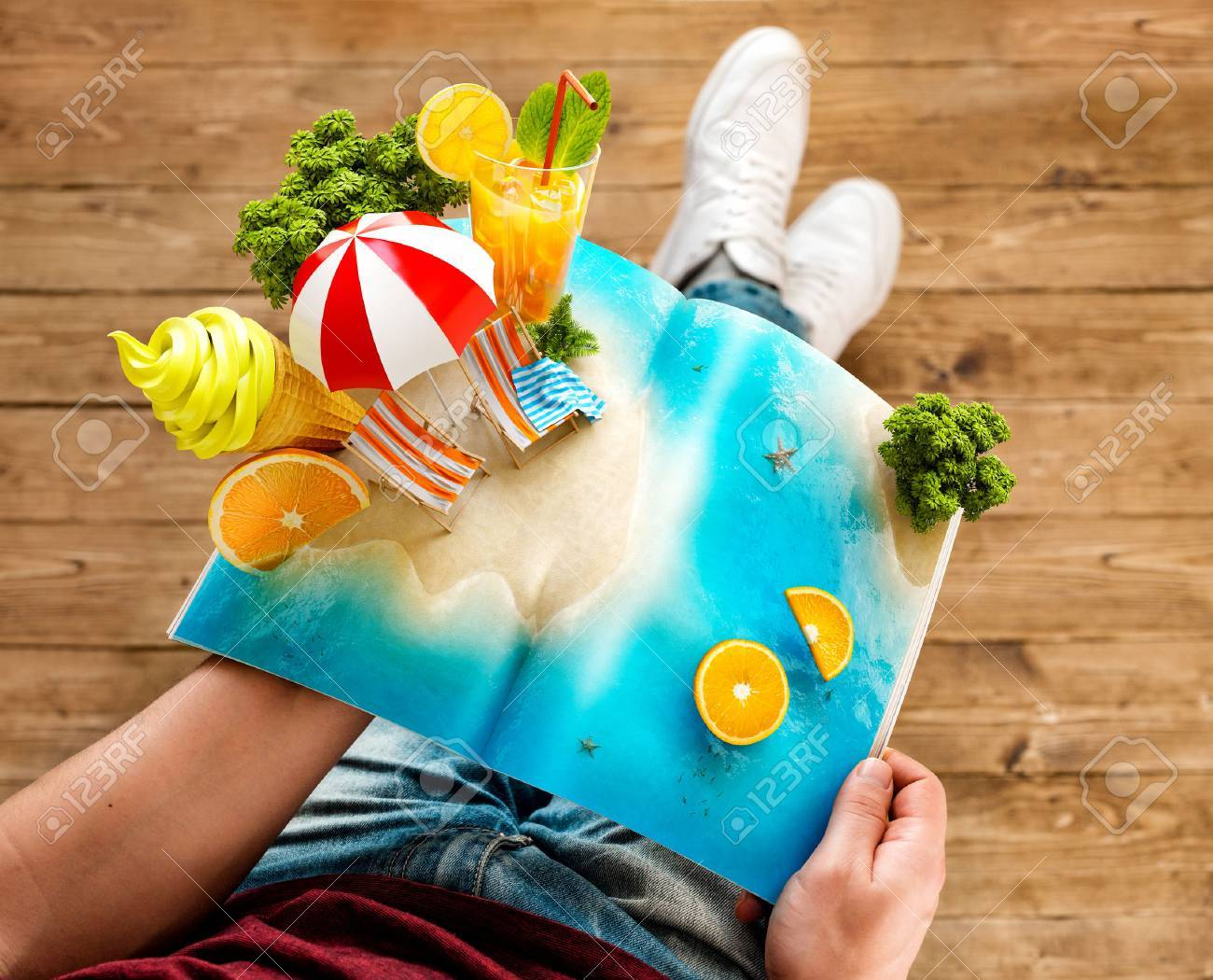 Tropical island with palms, ice cream and fresh juice on a page of opened magazine in hands. Unusual travel 3d illustration. Summer travel and vacation concept - 76034739