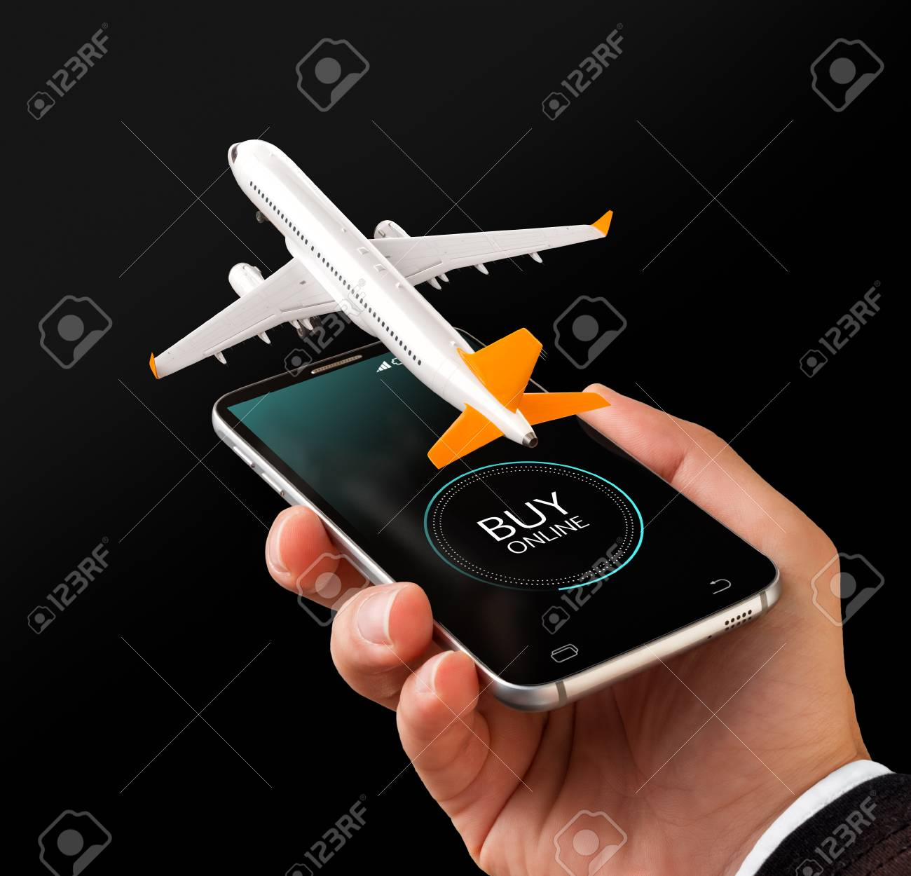 Smartphone application for online searching, buying and booking flights on the internet. Unusual 3D illustration of commercial airplane on smartphone in hand - 85250987