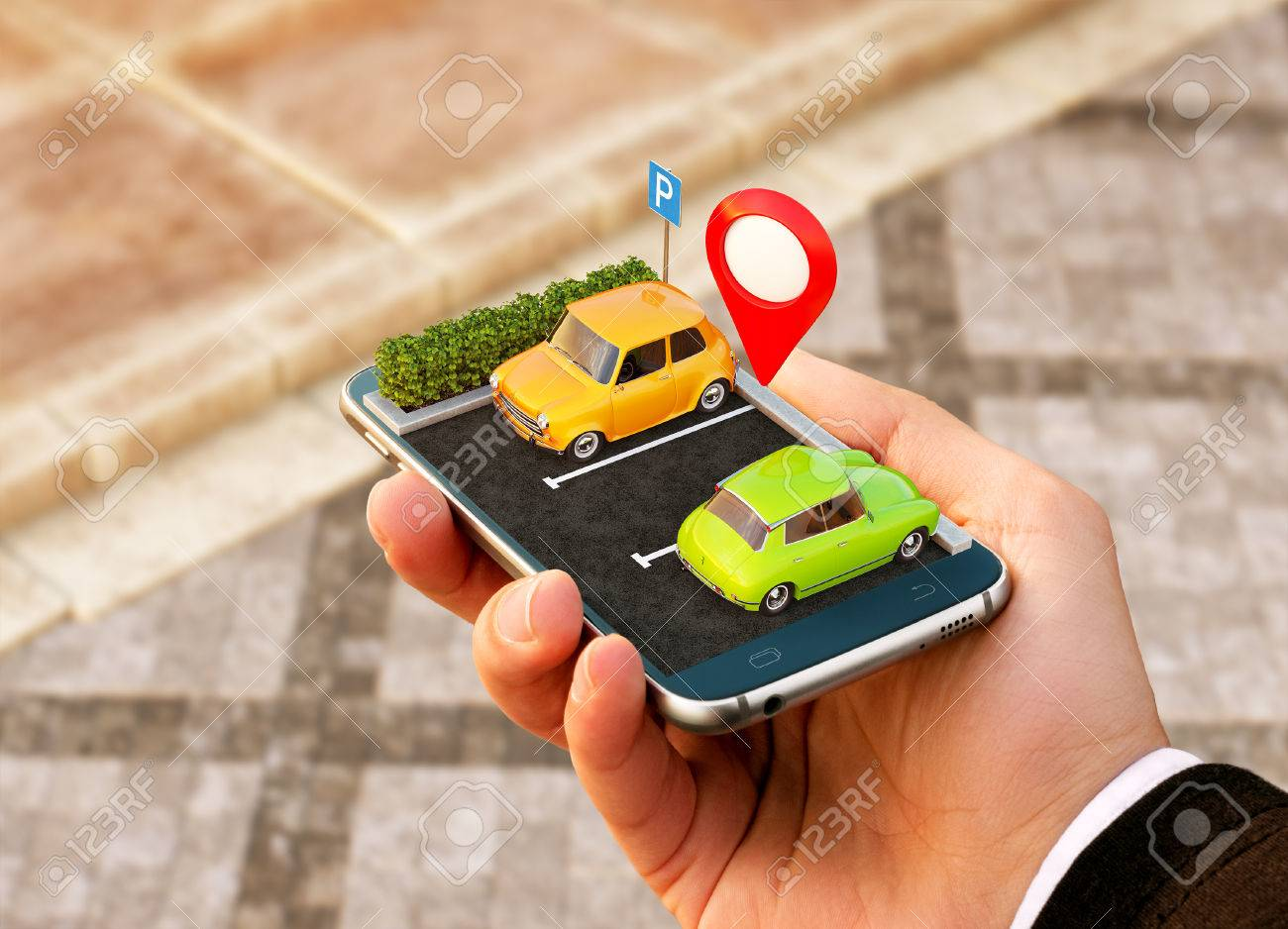 Smartphone application for online searching free parking place on the map. GPS Navigation. Parking concept. - 85553785