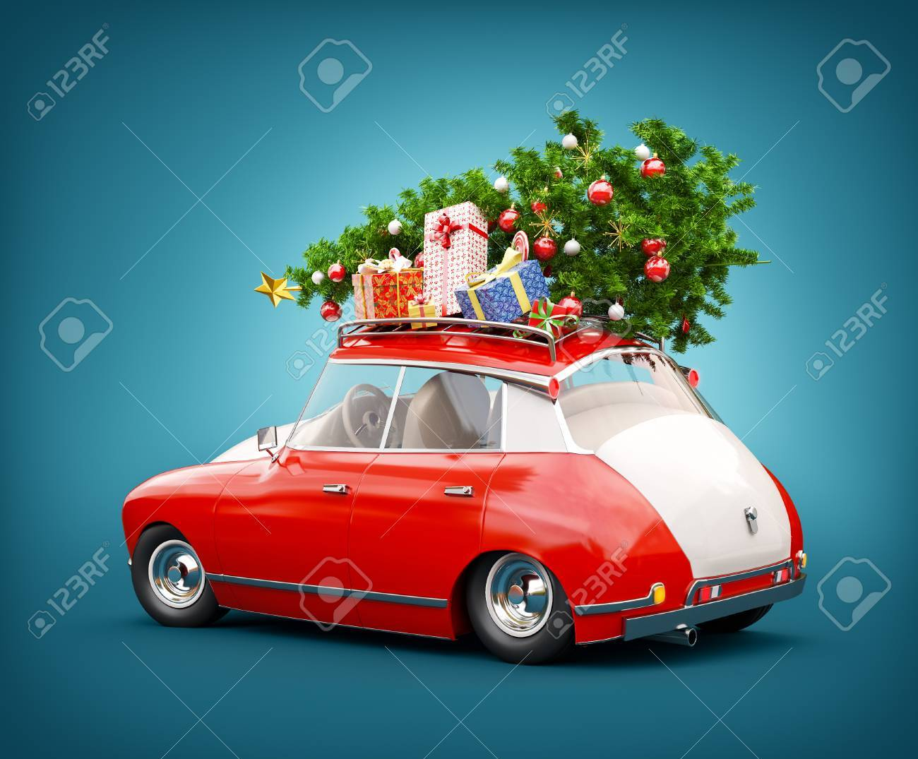 Unusual 3d illustration of a Red Santa's car with gift boxes and christmas tree on the top. Merry Christmas and a Happy New Year concept. - 87678189