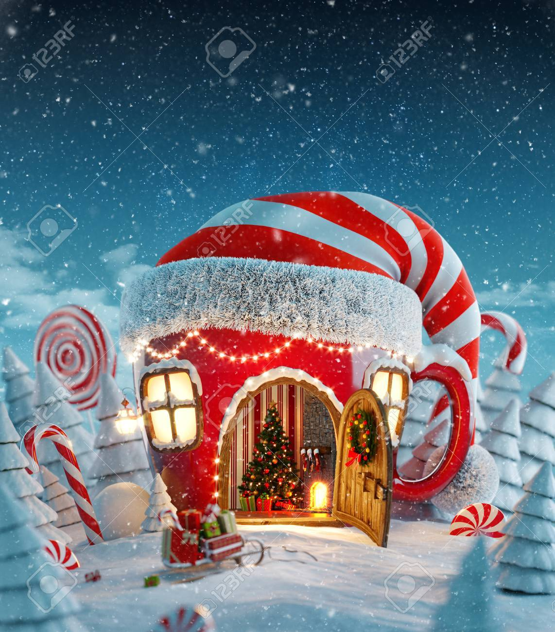 Amazing fairy house in elfs hat decorated at christmas in shape of tea cup with opened door and fireplace inside in magical forest. Unusual christmas 3d illustration postcard - 89399035