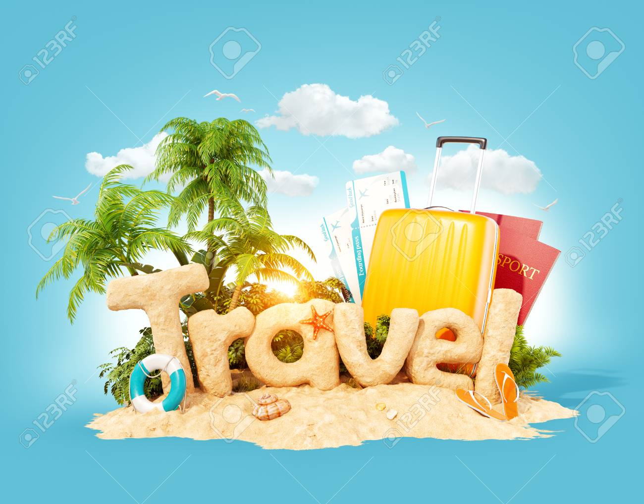 The word Travel made of sand on a tropical island. Unusual 3d illustration of summer vacation. Travel and vacation concept. - 96122474