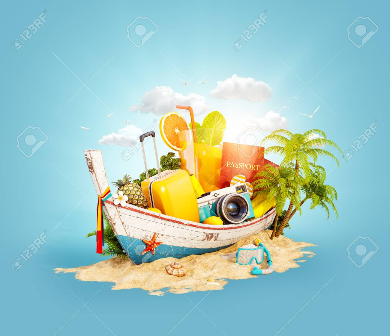 Beautiful Thai boat with suitcase, passport and camera inside on sand. Unusual 3d illustration. Travel and vacation concept. - 96035224