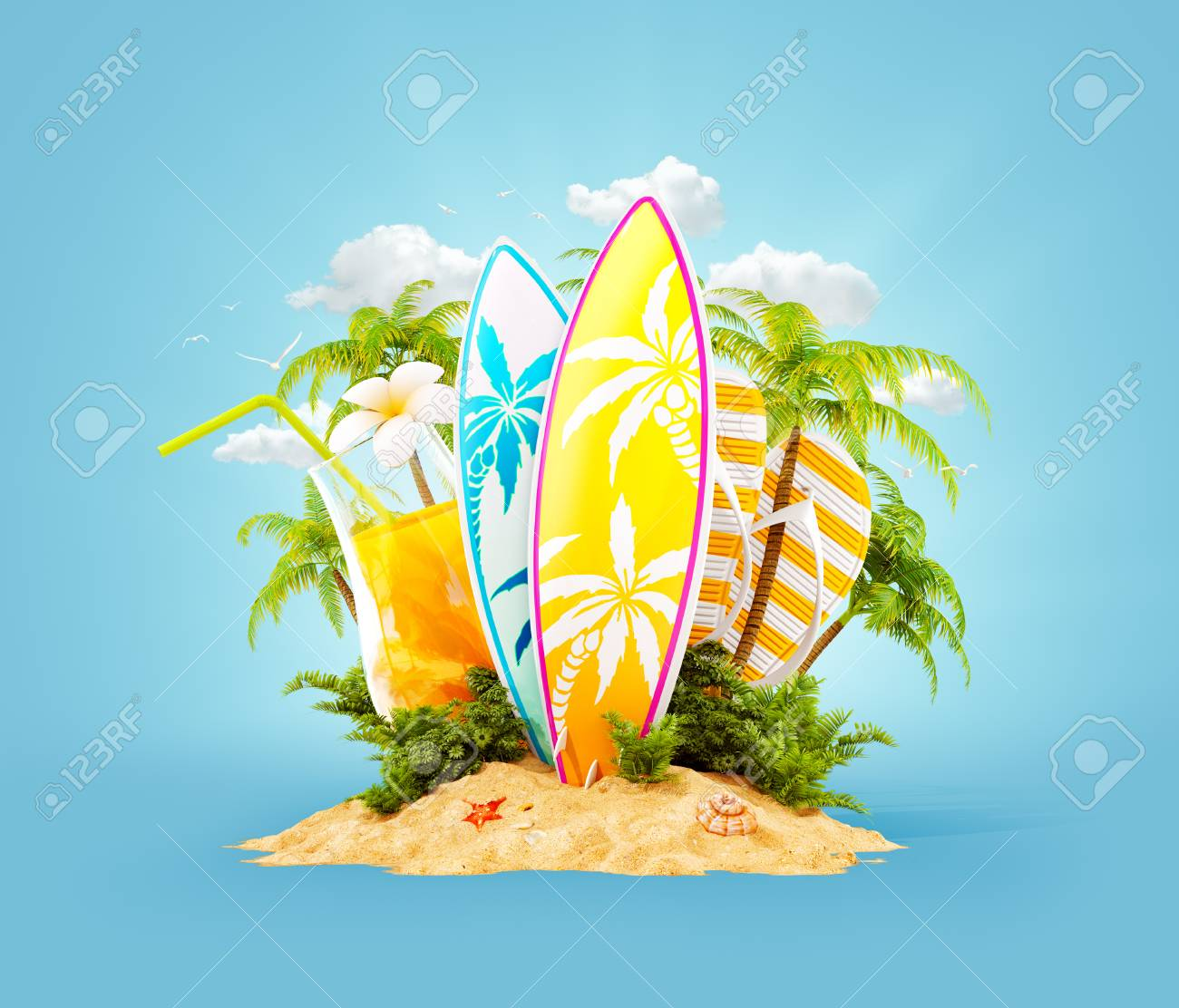 Surf boards on paradise island with palms. Unusual travel 3d illustration. Summer vacation concept - 96080720