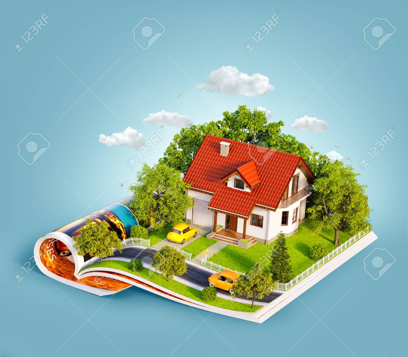White house of dream with white fence, garden and trees on opened pages of magazine. Unusual 3d illustration. Travel and camping concept - 96080723