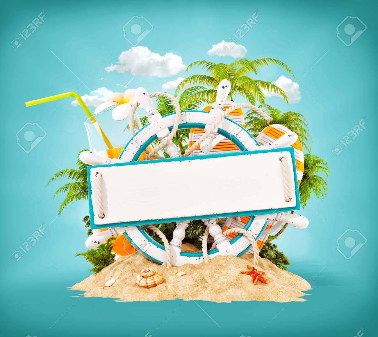 Wooden helm with a blank wooden plank for text on sand. Unusual 3D illustration. Travel and vacation concept. - 96347670