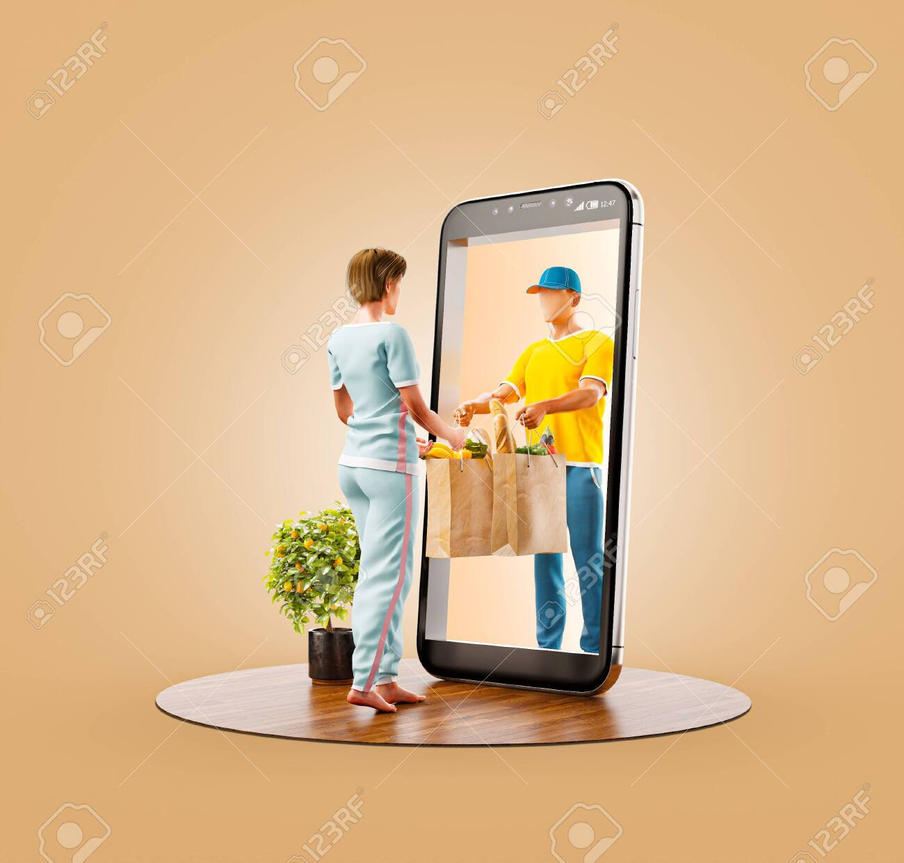 Unusual 3d illustration of a Young woman receiving order from courier. Food delivery service smart phone application. Smartphone apps concept. - 129882260