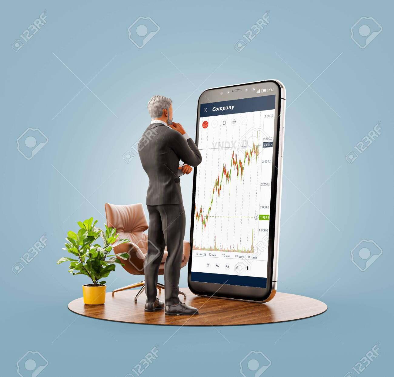 Unusual 3d illustration of a businessman standing in front of smartphone with Stock market graph. Finance and investment Smartphone apps concept. - 131380487