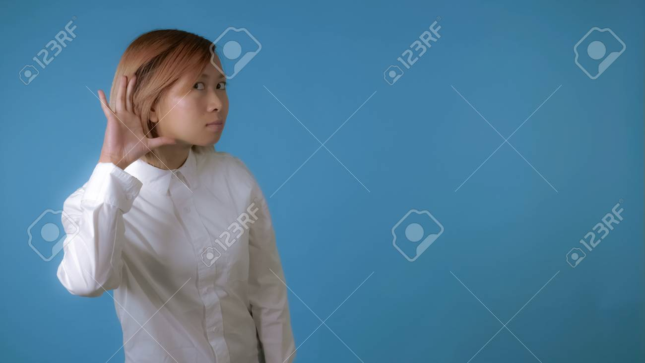 Close Up Face Young Asian Businesswoman Posing Showing Hand Gesture