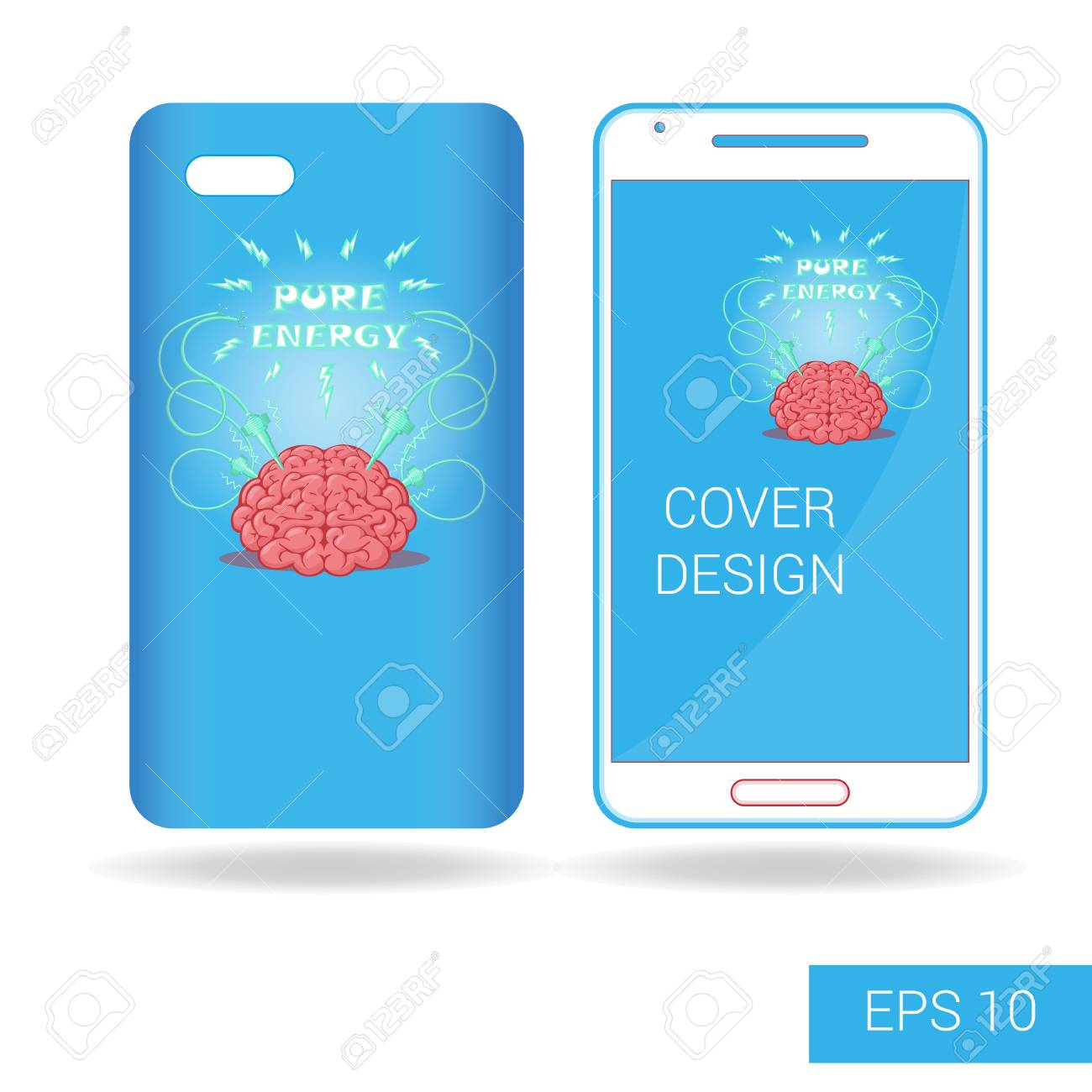 Concept design cover mobile smartphone with funny brain and electric concept design cover mobile smartphone with funny brain and electric lightning cartoon style isolated on white voltagebd Choice Image