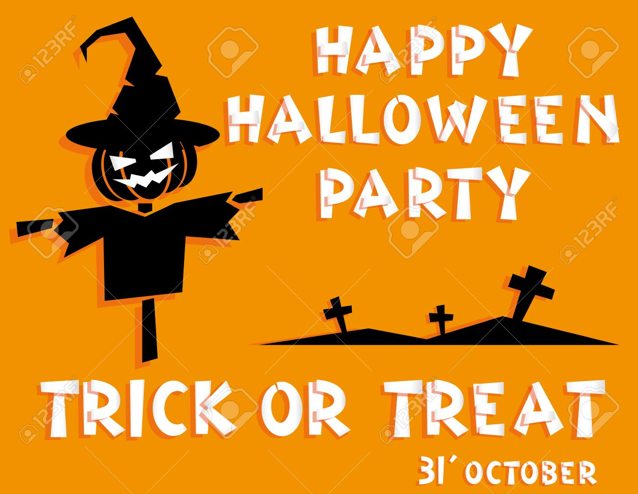 Holiday Background. Title Happy Halloween Party Trick Or Treat ...