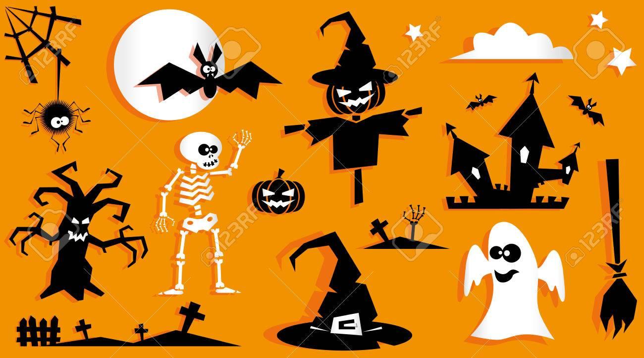 Set Of Funny Halloween Symbol. Pumpkin, Scarecrow, Ghost, Bat ...