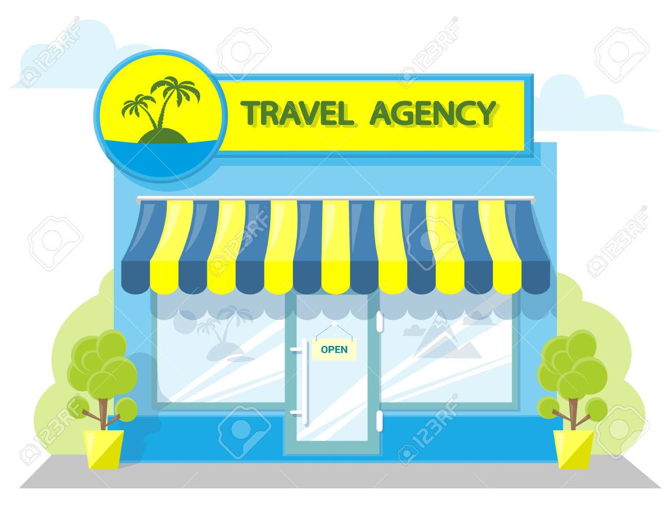 Facade Travel Agency Signboard With Emblem Awning And Symbol In Windows Concept Front