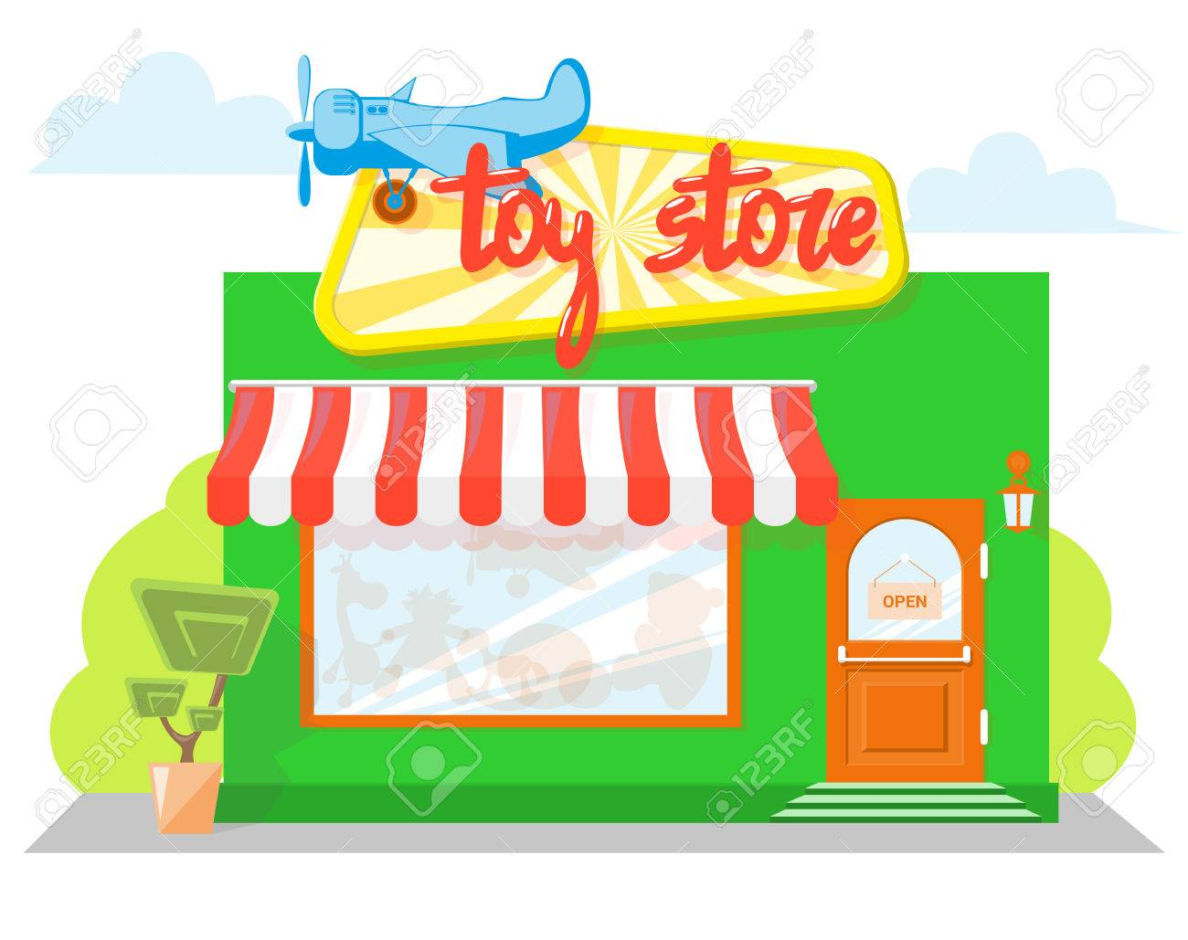 Facade Toy Store With A Signboard Awning And Silhouettes Toys