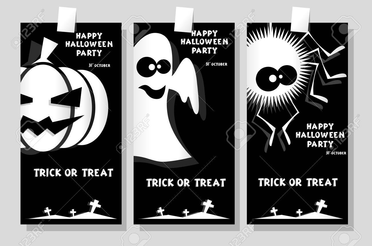 Set Of Funny Holiday Banner: Title Happy Halloween Party Trick ...