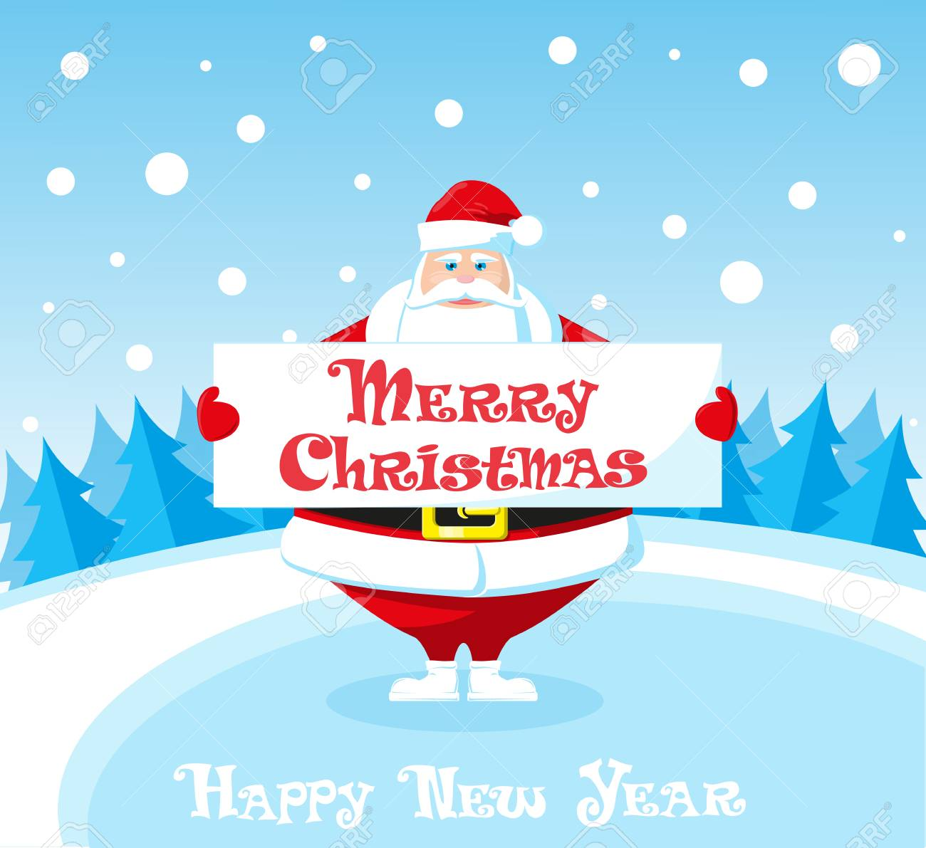 merry christmas and happy new year landscape cute santa claus royalty free cliparts vectors and stock illustration image 64438293 123rf com