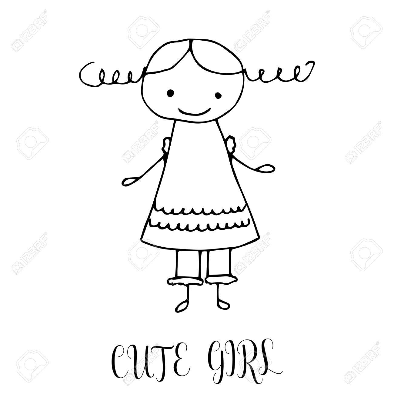 Cute Little Girl Hand Drawing In Funny Kids Style Design Element Royalty Free Cliparts Vectors And Stock Illustration Image 68720637