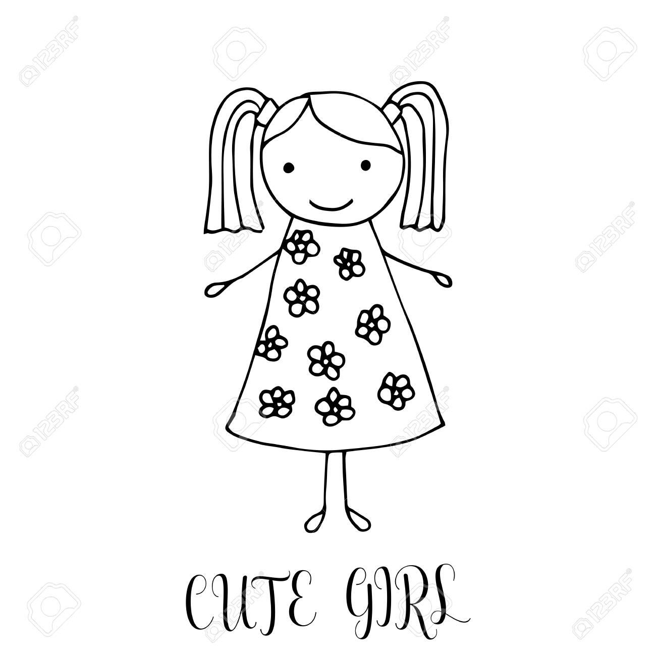 Jolie Petite Fille Dessin à La Main Dans Le Style Des Enfants Drôle élément De Design Pour La Décoration Des Souvenirs Cartes Affiches Bannières